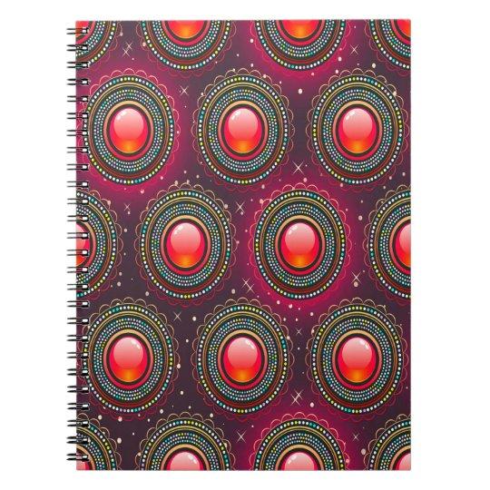 Abstraktes Muster-konzentrische Kreise lila und Spiralblock