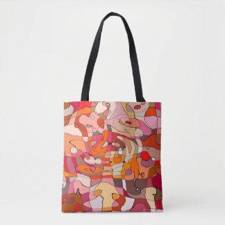 Abstraktes Muster-künstlerische rotbraune Konturen Tasche