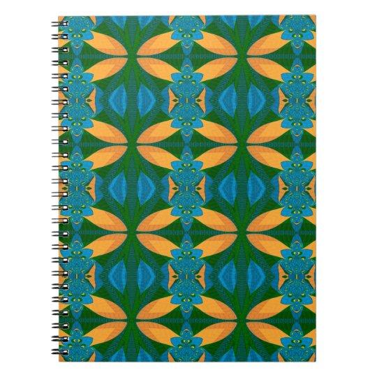 Abstraktes Muster nahtloses blaues Brown und Grün Spiral Notizblock