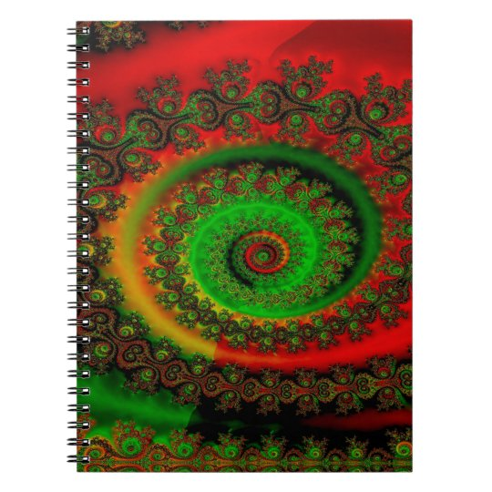 Abstraktes Muster-roter grüner und gelber Whirl Notizblock