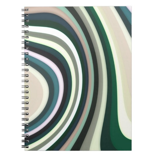 Abstraktes Muster zeichnet grünes weißes und Sahne Spiral Notizblock