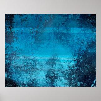 Abstraktes Musterblauer Grunge-Blick Poster