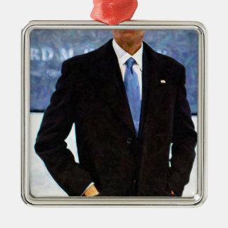 Abstraktes Porträt von Präsidenten Barack Obama 10 Silbernes Ornament