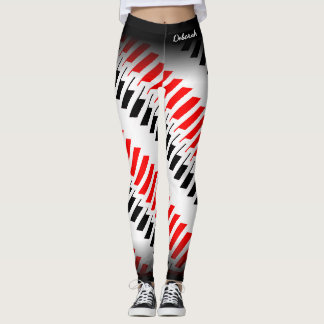 Abstraktes rotes weißes schwarzes Muster Leggings