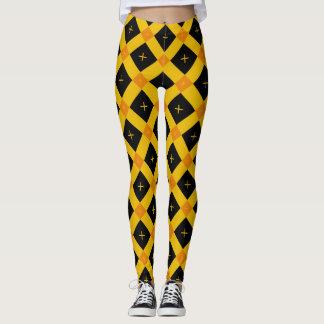 Abstraktes schwarzes gelb-orangees geometrisches leggings