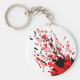 Abstraktes Spritzen und Tropfen rot und schwarz Schlüsselanhänger