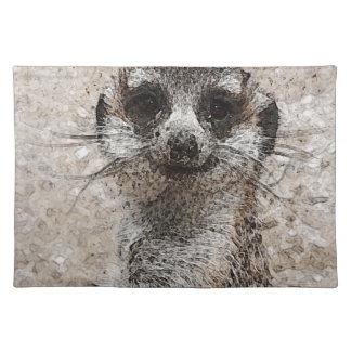 abstraktes Tier - Meerkat Stofftischset