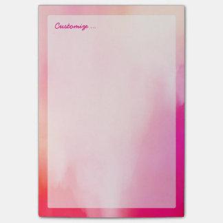 Abstraktes Watercolor-Rosa-korallenrotes orange Post-it Klebezettel