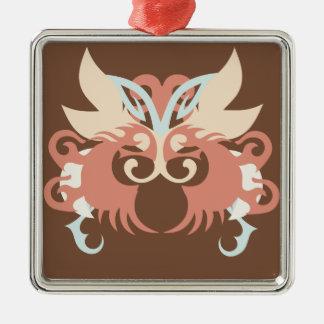Abstraktion fünf Tlaloc Quadratisches Silberfarbenes Ornament