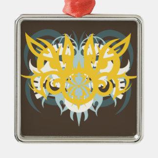 Abstraktion neun dringend quadratisches silberfarbenes ornament