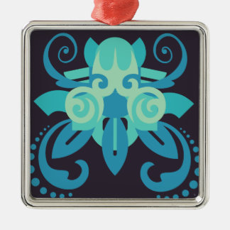 Abstraktion zwei Poseidon Silbernes Ornament