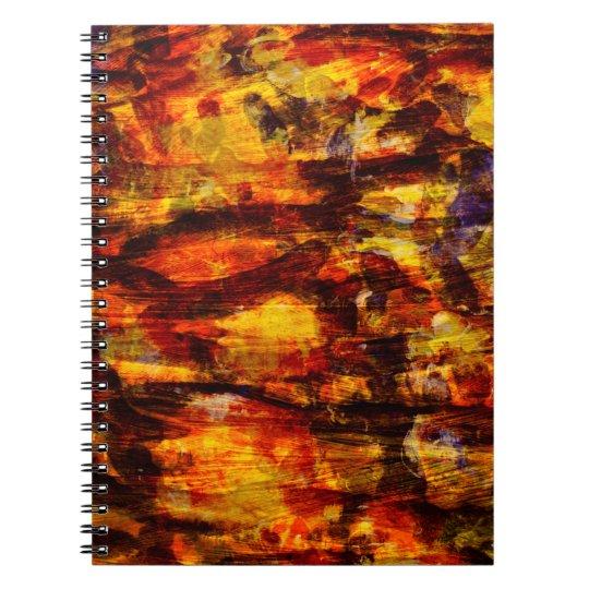 Abstraktions-Kunst Brown und schwarze Federn Notizbuch