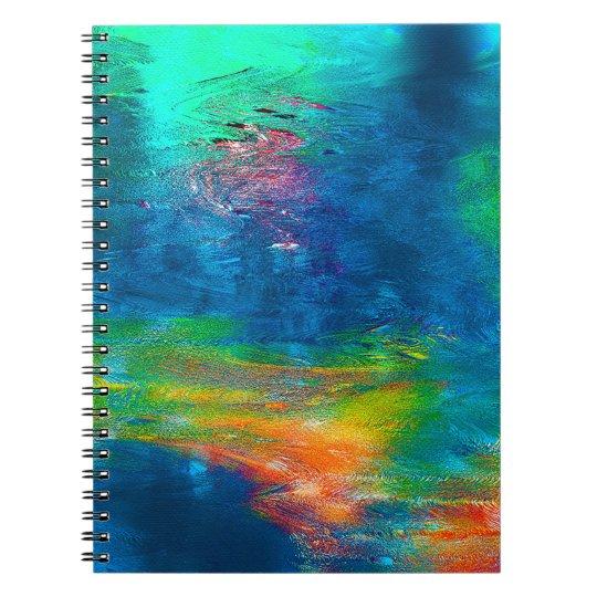 Abstraktions-Kunst-bunte Wasser-Reflexionen Spiral Notizbücher