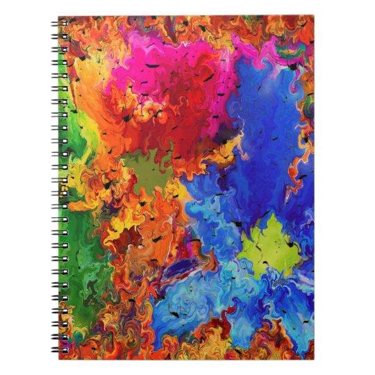 Abstraktions-Kunst-gewelltes und buntes Muster Spiral Notizbücher