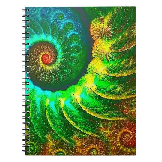 Abstraktions-Kunst-Grün und BrownWhirl Spiral Notizbücher