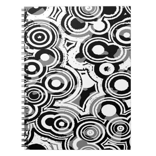 Abstraktions-Kunst-Schwarzweiss-Kreise Notizblock