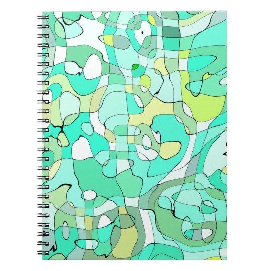 Abstraktions-Kunst umreißt Grünes, Gelbes und Weiß Spiral Notizblock