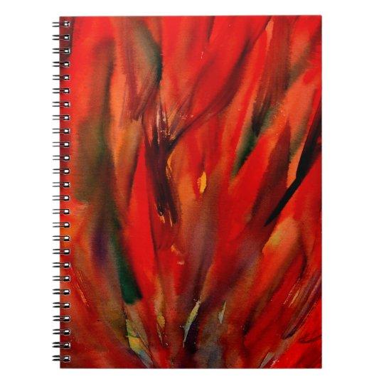 Abstraktions-rote Flammen-Kunst Spiral Notizbuch