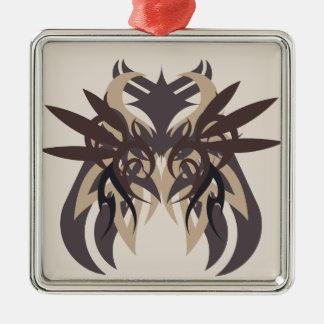 Abstraktionvier Terra Quadratisches Silberfarbenes Ornament