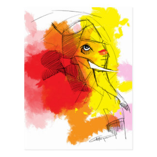 abtract Ganesha Malereien Postkarte