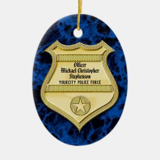 Abzeichen-Marmorpolizei-Abschluss/Ruhestands-Party Keramik Ornament