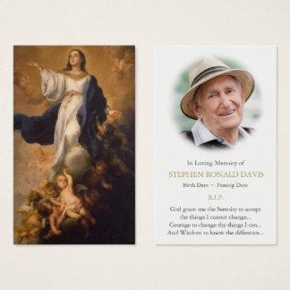 Acceptation funèbre de carte de prière de Vierge