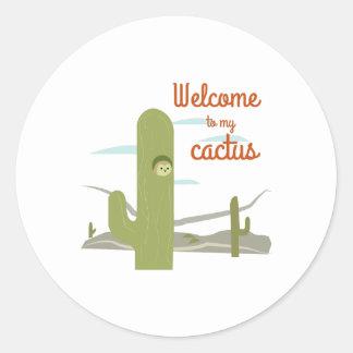 Accueil à mon cactus sticker rond