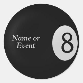 Acht Ball - Billardkugel-Namensaufkleber Runder Aufkleber