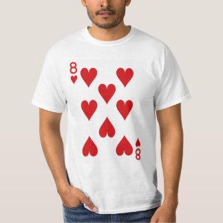 Acht der Herz-Spielkarte T-Shirt