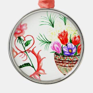 Acht von März-Kunst Rundes Silberfarbenes Ornament