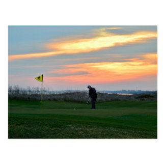 Achtzehntes Grün am Sonnenuntergang auf Kiawah Postkarte