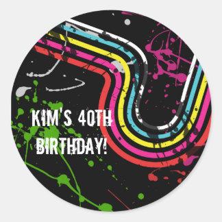 Achtzigerjahre Geburtstags-Party-Retro Runder Aufkleber