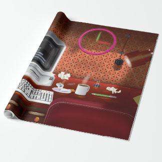 Achtzigerjahre klassisches Büro mit Computer Geschenkpapier