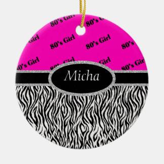 Achtzigerjahre Mädchen-Neonrosa u. Zebra-Monogramm Keramik Ornament