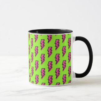 Achtzigerjahre/Neunzigerjahre grünes u. rosa Tasse