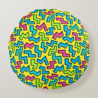 Achtzigerjahre/Neunzigerjahre Neon-Muster Rundes Kissen