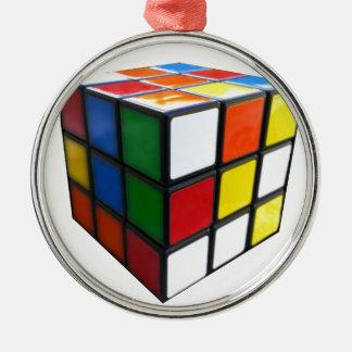 Achtzigerjahre Puzzlespiel-Würfel Rundes Silberfarbenes Ornament