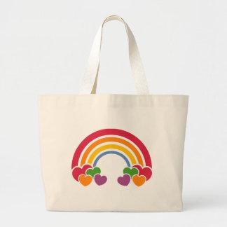 Achtzigerjahre Regenbogen u. Herz-Tasche Jumbo Stoffbeutel