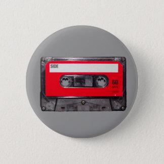 Achtzigerjahre rote Aufkleber-Kassette Runder Button 5,7 Cm