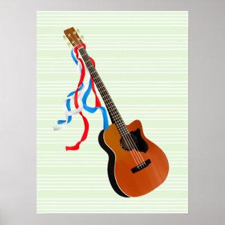 Acoutic patriotische Bänder Bass-Gitarre Poster