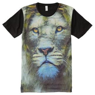 Acryllöwe-surreales Ölgemälde T-Shirt Mit Komplett Bedruckbarer Vorderseite