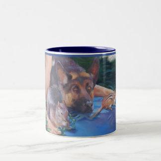 Adam, das Tiere Schäferhund-Tassen nennt Zweifarbige Tasse