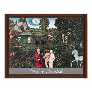 Adam und Eve im Garten Eden, Adam und Eve I 10,8 X 14 Cm Einladungskarte