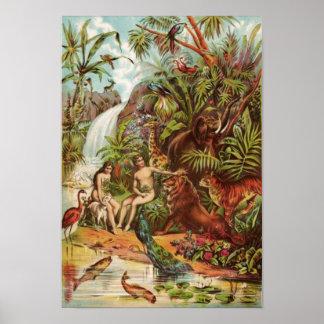 Adam und Eve im Garten Poster