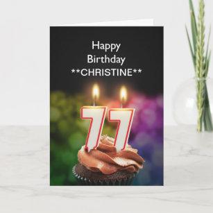 Addieren Sie einen Namen, 77. Geburtstagskarte Karte