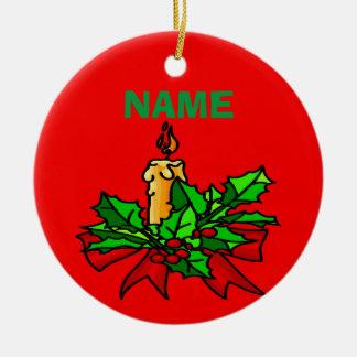 Addieren Sie einen Namensweihnachtsbaum Rundes Keramik Ornament