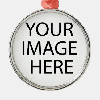 Addieren Sie Ihr eigenes Bild Rundes Silberfarbenes Ornament