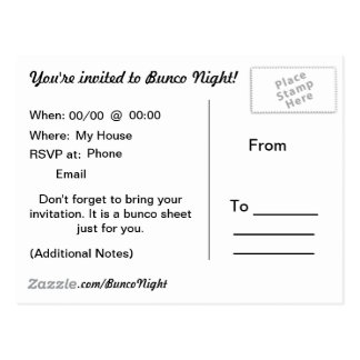 Addieren Sie Ihr Hintergrund Bunco Blatt Postkarte