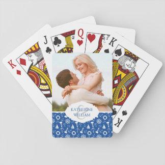 Addieren Sie Ihr Namens| blaues Seemuster Spielkarten