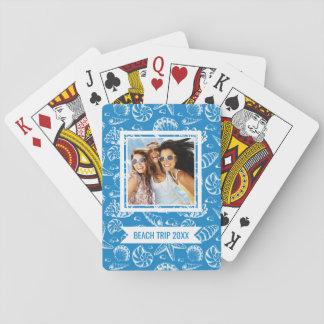 Addieren Sie Ihr Namens| blaues Strand-Muster Spielkarten